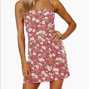 Blue Life Day Party Mini Dress in Red Dot Floral